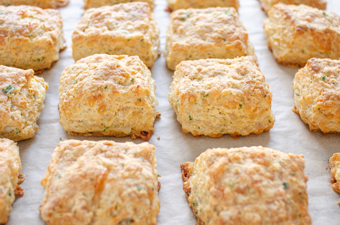 Cheddar biscuits made with kefir.