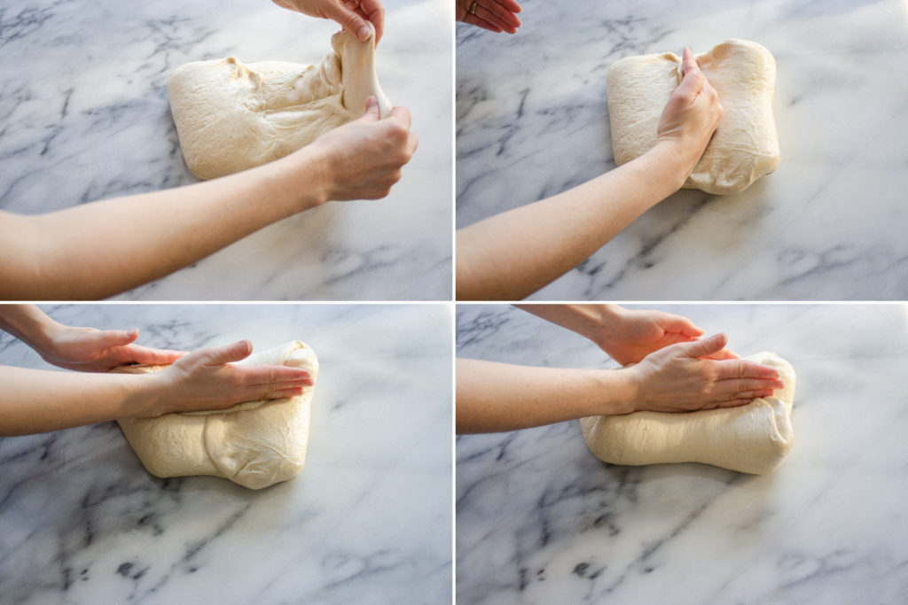 First step in forming a sourdough French bread loaf.