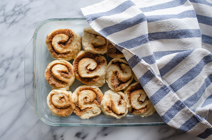 All of the rolls in a pan partially covered with a tea towel.