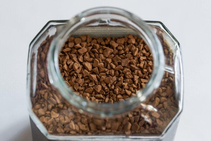 A jar of organic instant coffee for making healthy Dalgona coffee.