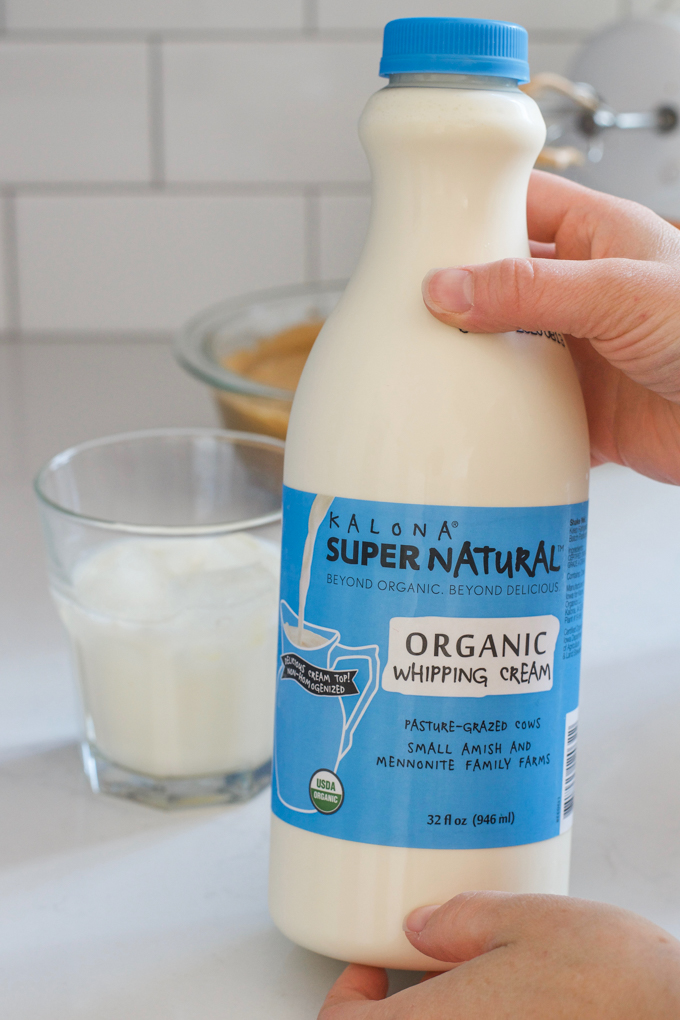 A bottle of Kalona SuperNatural whipping cream.