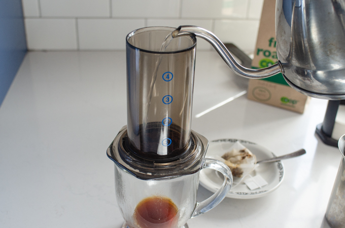 Pouring the hot water into the aeropress.