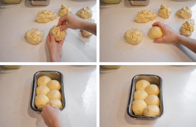 Forming the brioche sourdough bun bread.