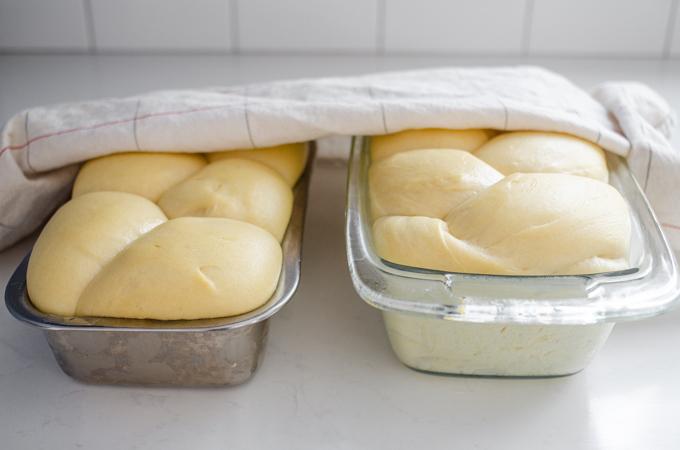 The risen loaves of sourdough brioche.