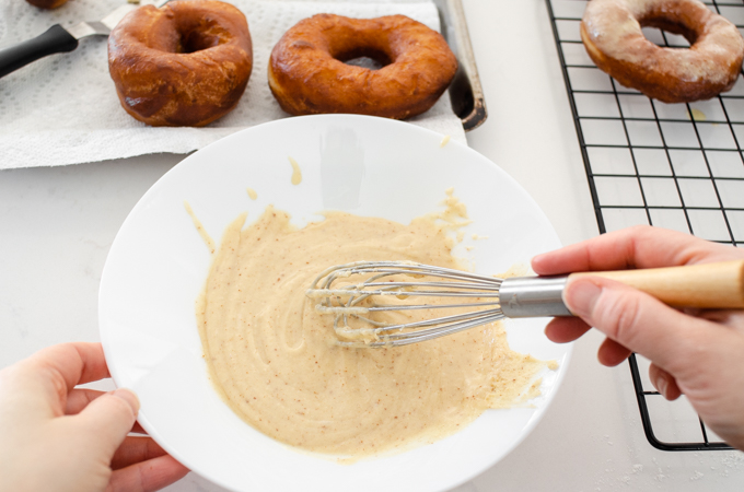 Whisking together the ingredients for the browned butter frosting.