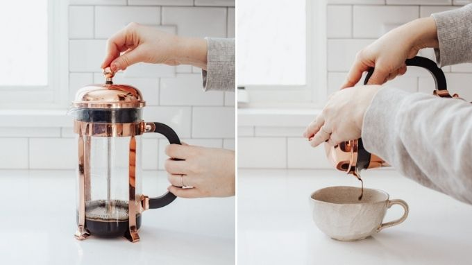 Brewing coffee in a French press for lattes.