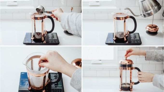 Brewing espresso strength coffee with a French press for making an oat milk latte at home.