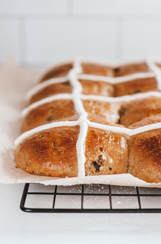 Sourdough Hot Cross Bun Recipe with an icing sugar frosting.