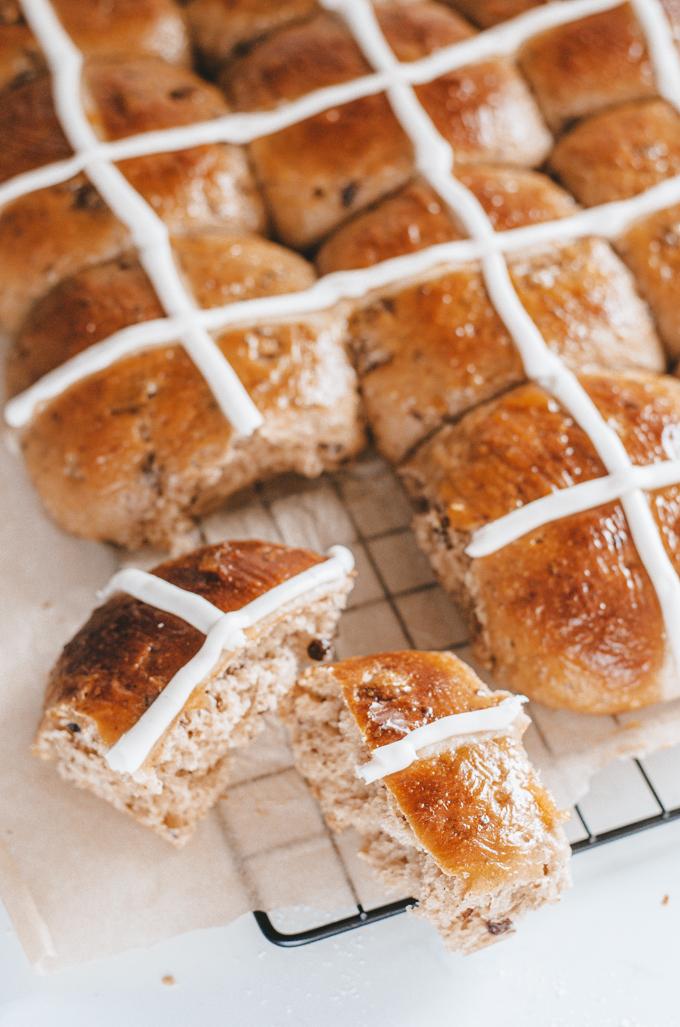 Sourdough hot cross bun recipe with either a flour paste cross or a frosting cross.