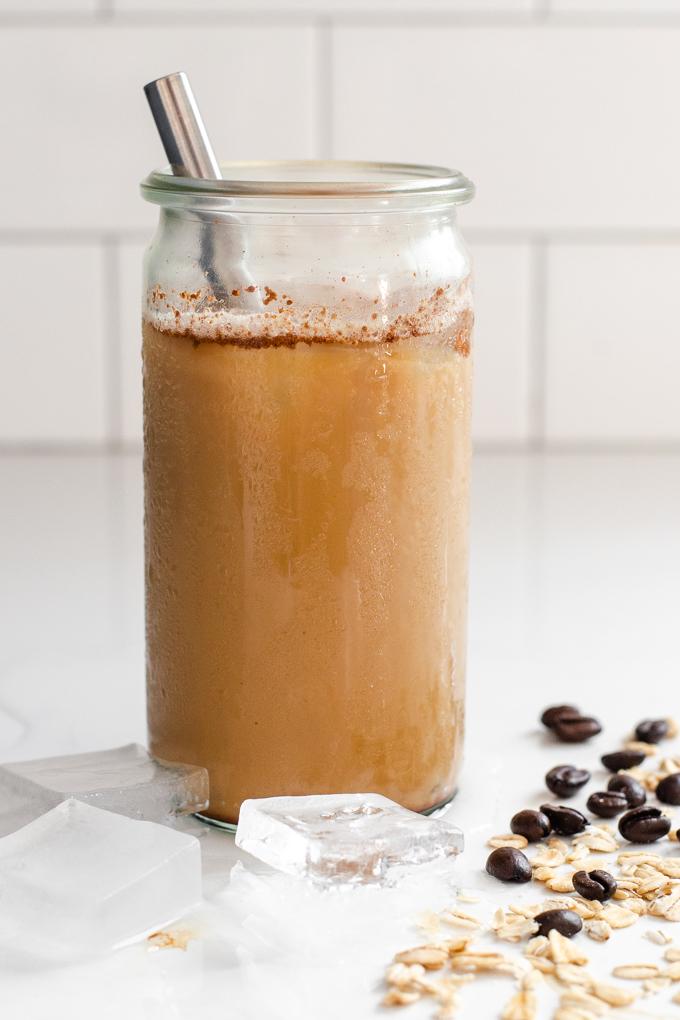 A copycat iced brown sugar oatmilk shaken espresso at home.