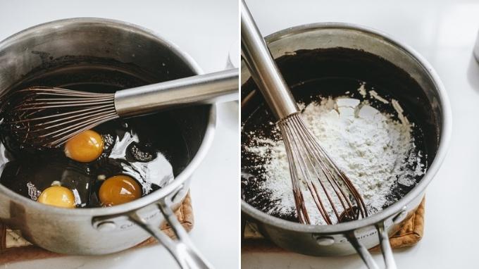 Adding the eggs. flour, and salt.
