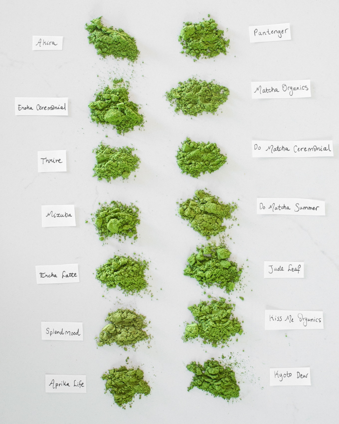 14 different organic green tea brands side by side for color comparison.